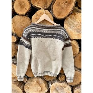 HANDKNIT wool knit vintage style grandpa sweater